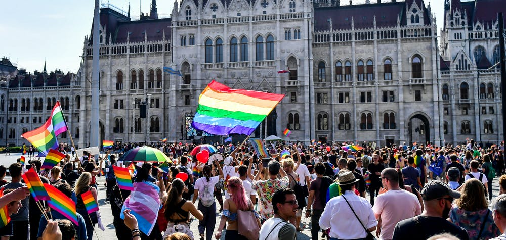 People march to the parliament building during the lesbian, gay, bisexual and transgender (LGBT) Pride Parade in Budapest, Hungary on July 7, 2018.