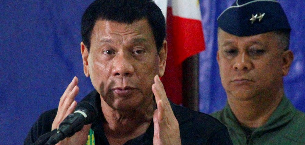 Philippine President Rodrigo Duterte speaks before soldiers during a visit at a military camp in Awang, Maguindanao in southern Philippines January 27, 2017.