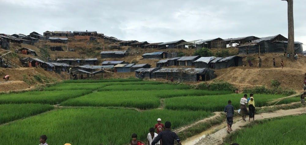 Vue d'ensemble du camp de réfugiés Rohingya à Thaun Khali à Cox's Bazar au Bangladesh. 09/09/2017