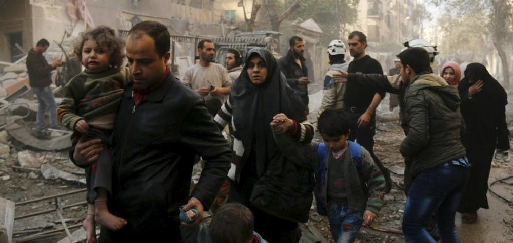 Des civils fuient Alep. 13/01/2016