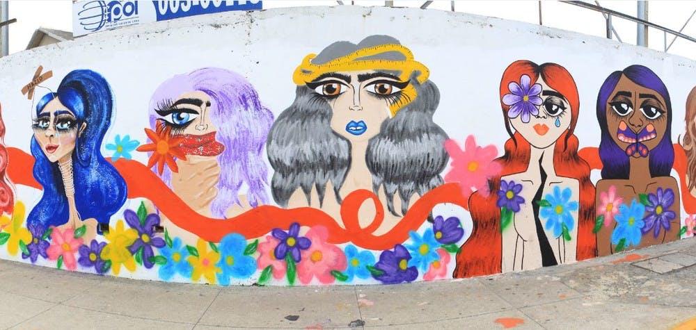 Fresque murale contre les violences faites aux femmes