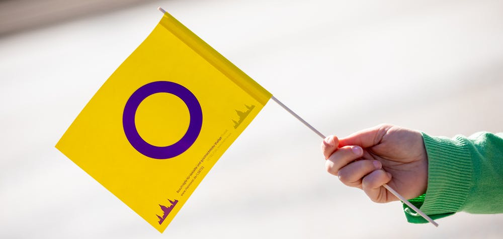 An Inter* Pride flag is presented in front of the New City Hall. The city of Hanover launches a poster campaign to increase the visibility of intersex people in Hanover and Lower Saxony.