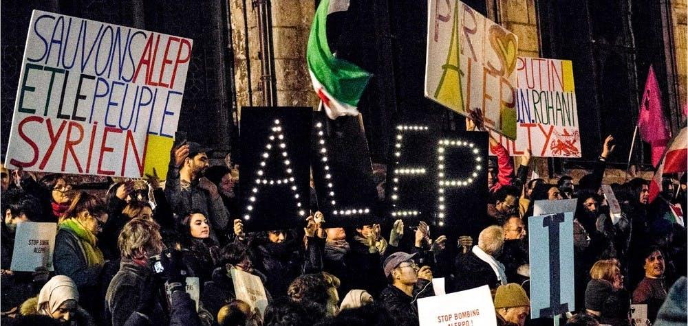 Solidarité avec les habitants d'Alep  Mobilisation à Paris, place   Stravinsky, le 14/12/2016