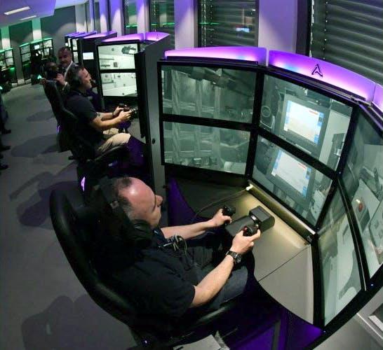 Simulateur de conduite de char sur le campus Cockerill