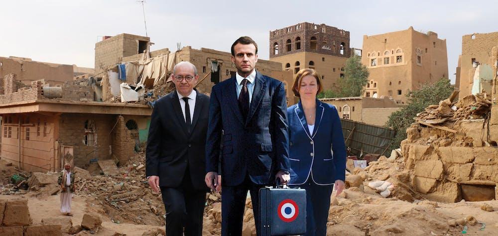 Maisons civiles détruites par des frappes aériennes de la coalition dirigée par l'Arabie saoudite dans la vieille ville de Saada, 2015 [de gauche à droite : Jean-Yves Le Drian, Emmanuel Macron, Florence Parly]
