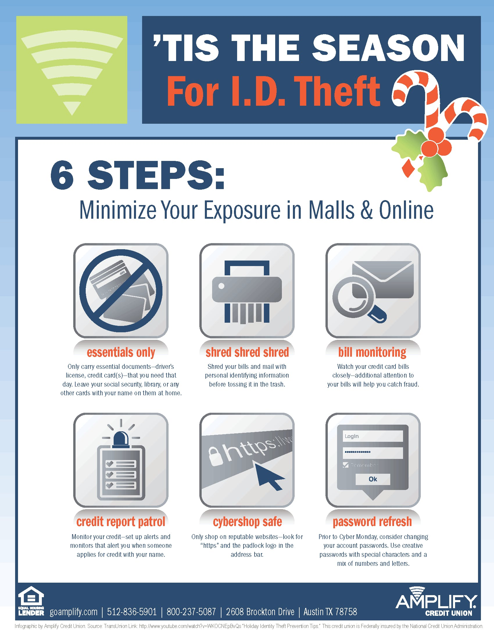 Information and tips about minimizing your exposure and risk of identity theft.