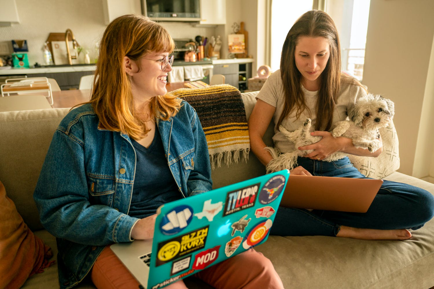 Krista Doyle and collaborator Katie Duncan work on the upcoming schedule for Content Is Queen.