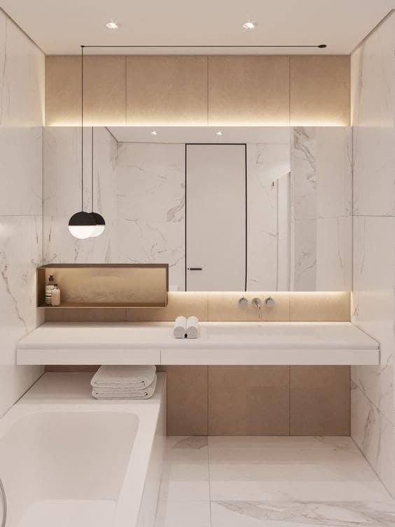 Baño moderno en tonos claros