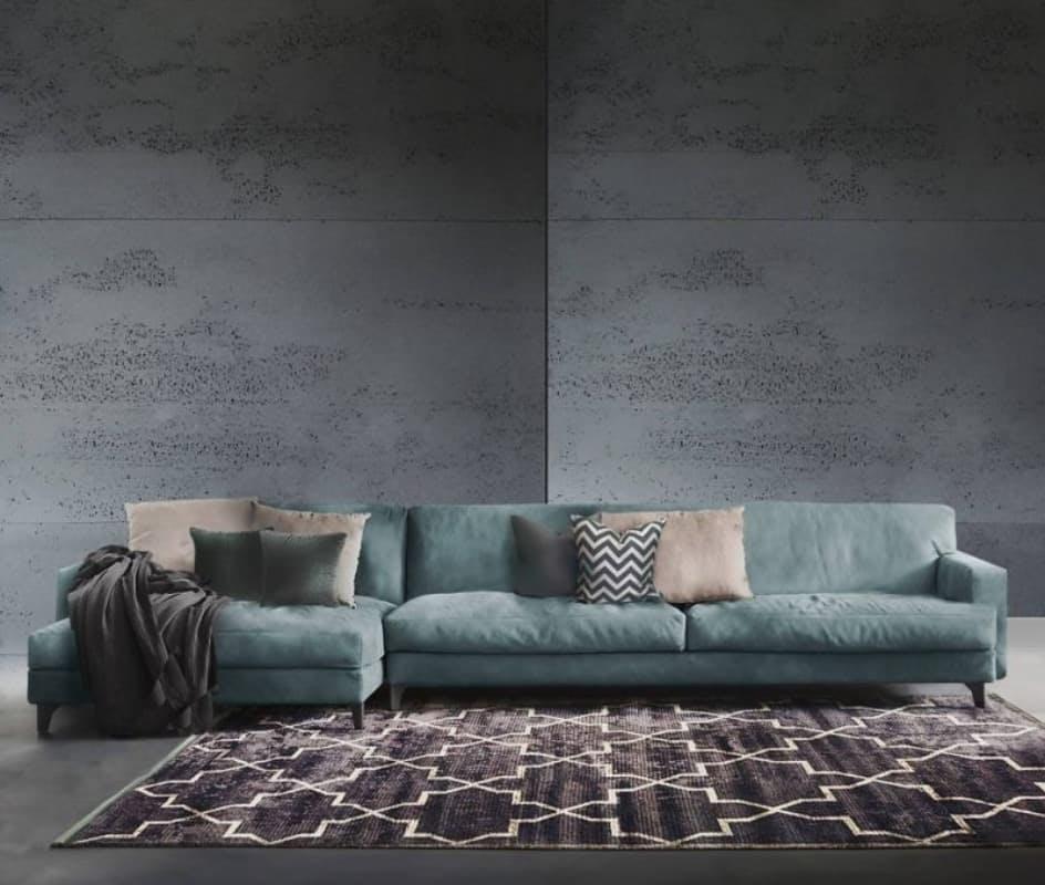 Sofá modular de terciopelo color azul