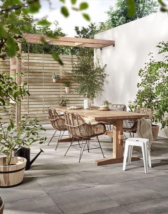 Terraza en tonos madera