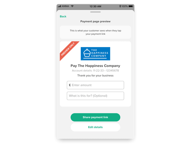 Your personal payment page preview in the ANNA app
