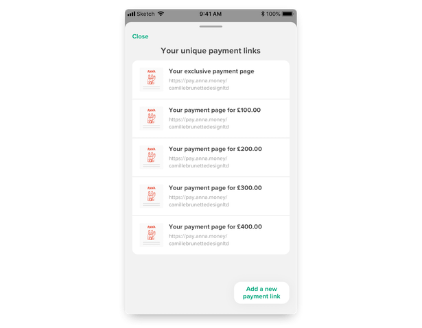 The list of your active payment links