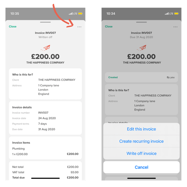 To write off an invoice, tap it and find the 3 dots menu at the top right hand corner