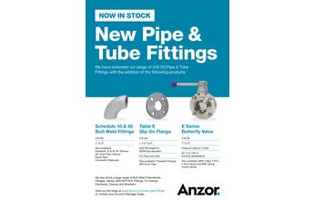 New Pipe & Tube Fittings Now In Stock