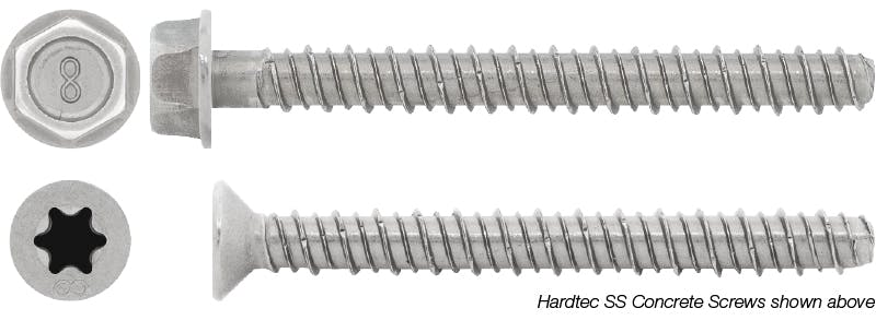 Hardtec Stainless Steel concrete screws