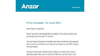 June 1st 2021 Price Increase