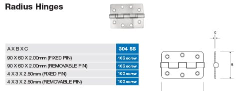 Stainless Radius Hinge Dimensions and Screw Sizes