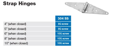 Stainless Strap Hinge Dimensions and Screw Sizes