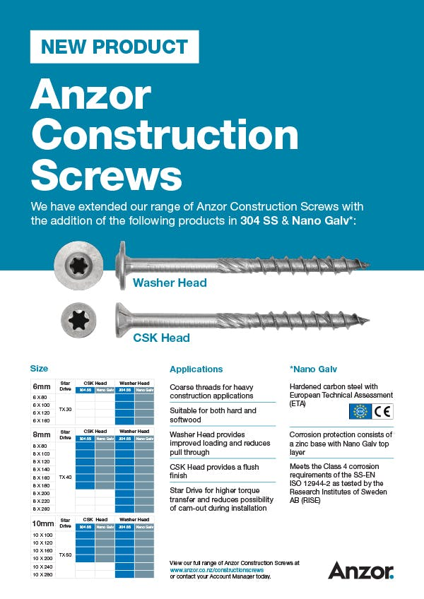 Anzor Timber Construction Screws Flyer in Stainless Steel and Nano Galv