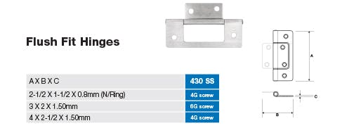 Stainless Flush Fit Hinge Dimensions and Screw Sizes