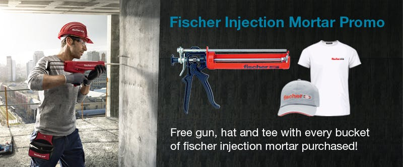 Free gun, hat and tee with every full bucket of fischer injection mortar purchased!