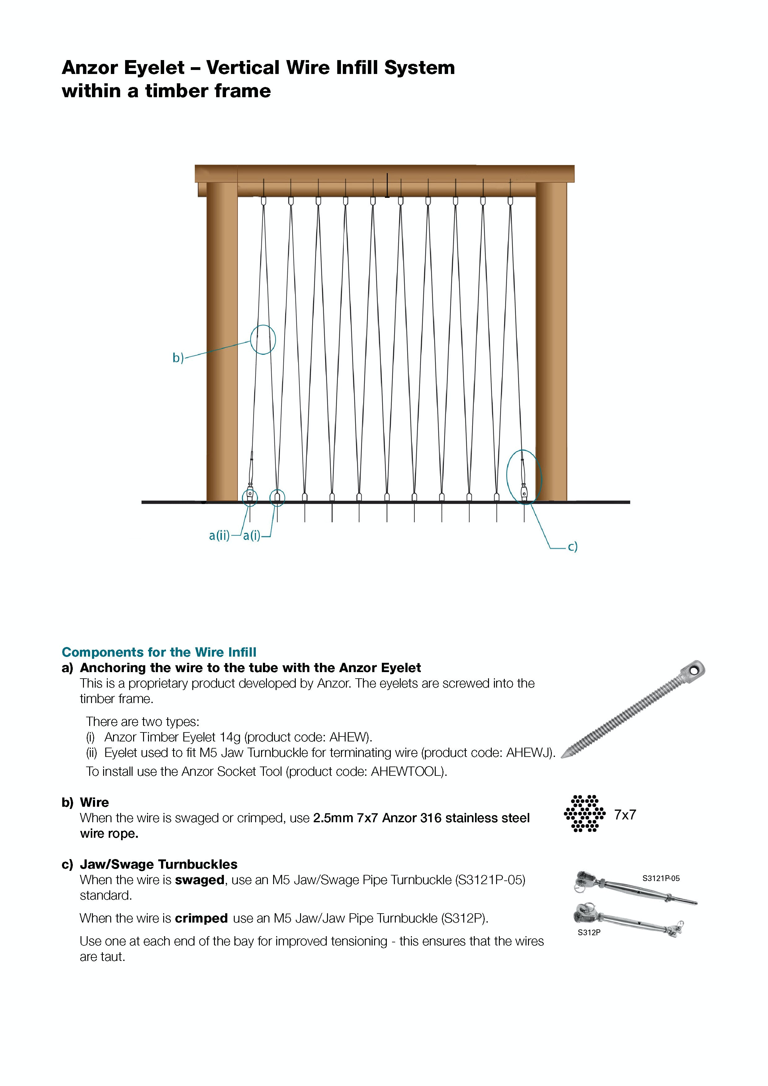 Stainless Vertical Wire Infill System for Timber Frame