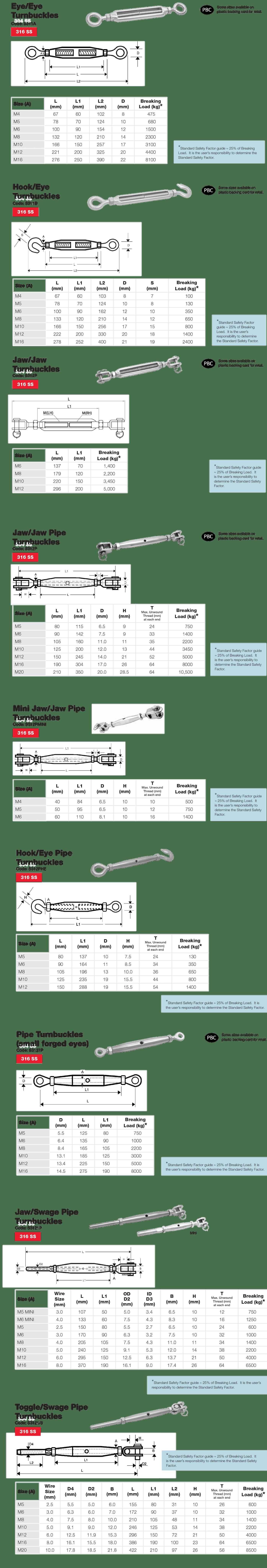 Stainless Steel Marine Turnbuckle Dimensions