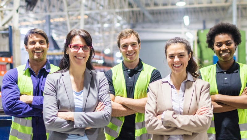 team in industrial environment