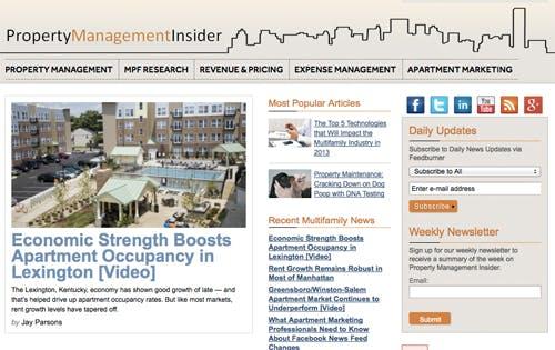 Screenshot of Property Management Insider homepage.