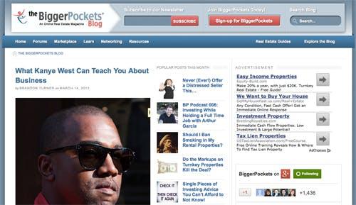 Screenshot of biggerpockets.com blog.