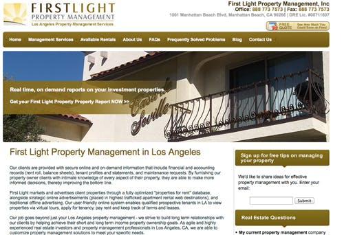 First Light Property Management home page.