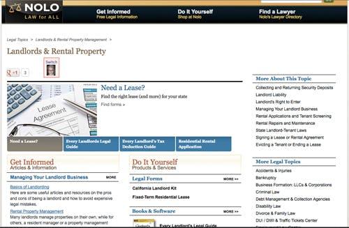 Screenshot of NOLO Landlord & Rental Property page.