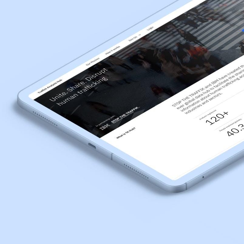 Tablet showing TA Hub website