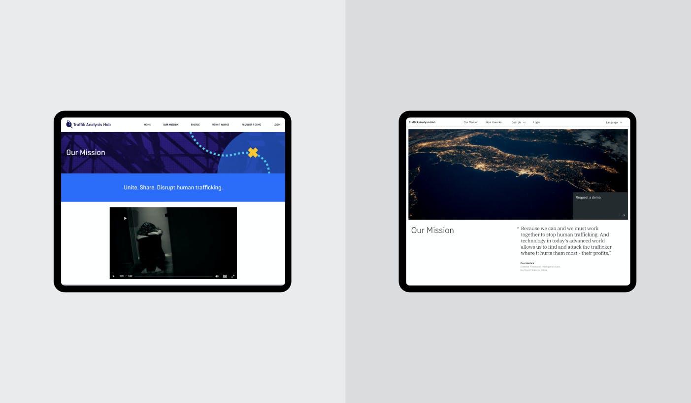 Tablet screens showing side-by-side comparison of old website vs. new website branding