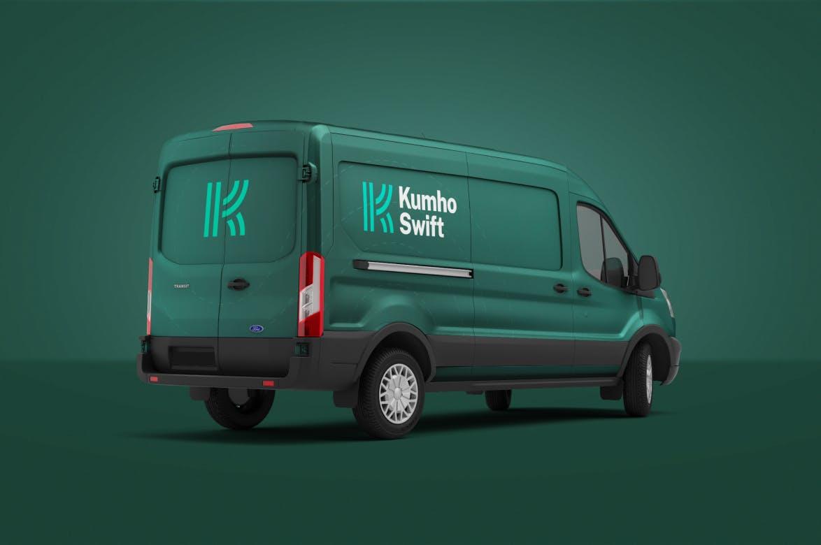 Cargo van with Kumho Swift branding