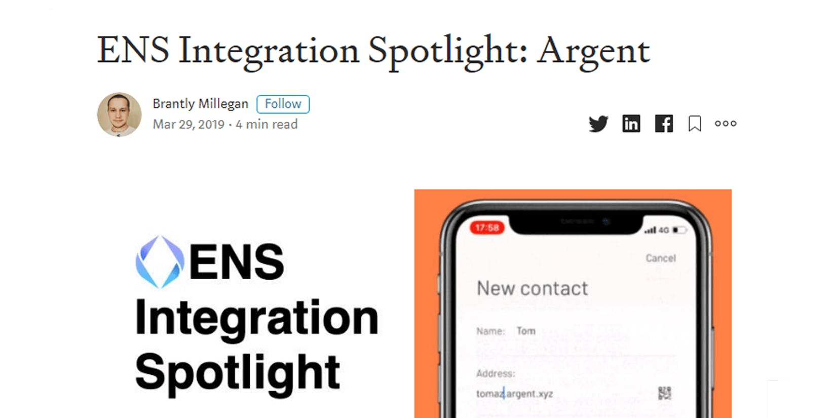 ENS Integration Spotlight: Argent by Brantly Millegan