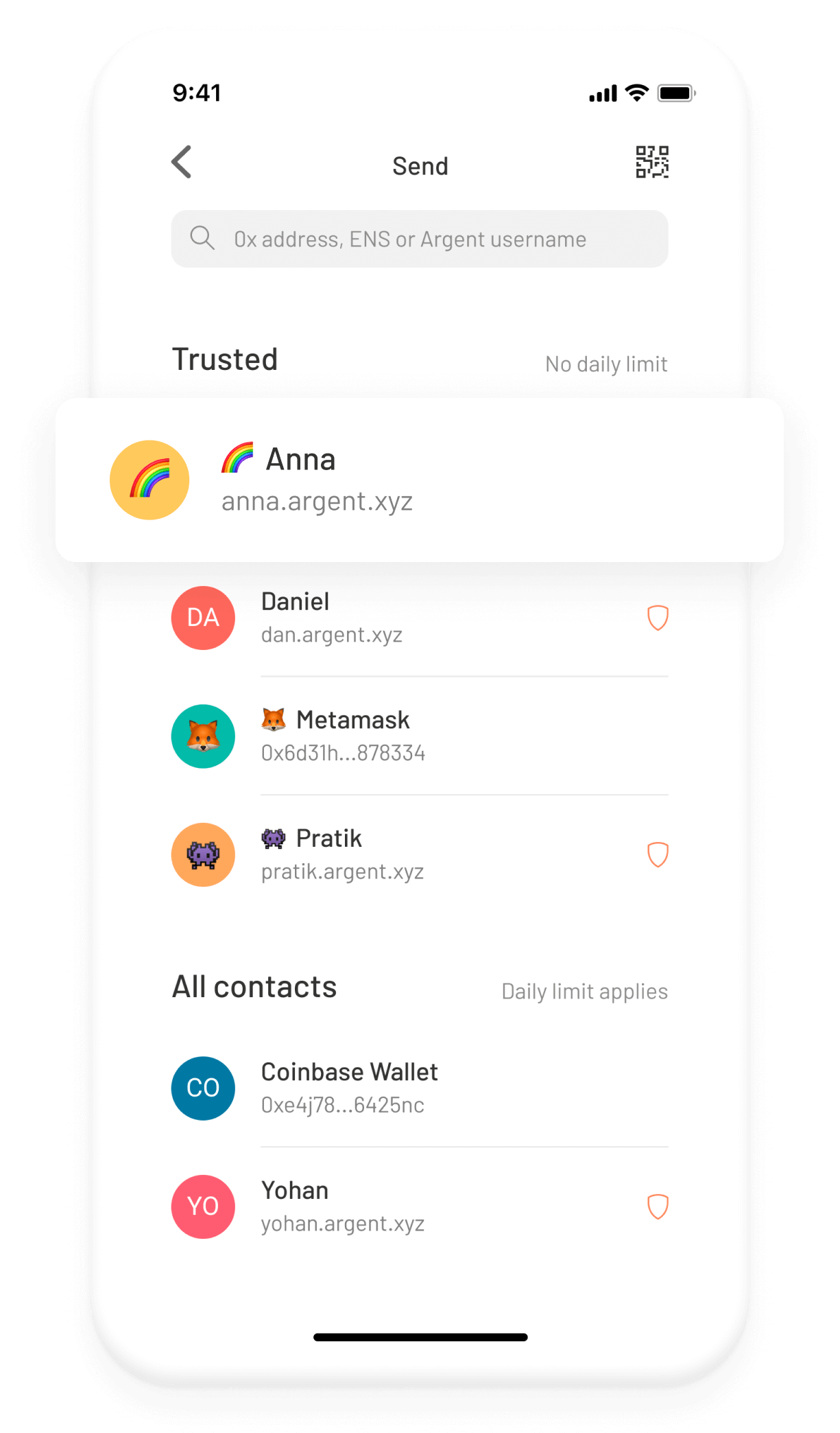 Argent Ethereum DeFi wallet –Trusted contacts screen