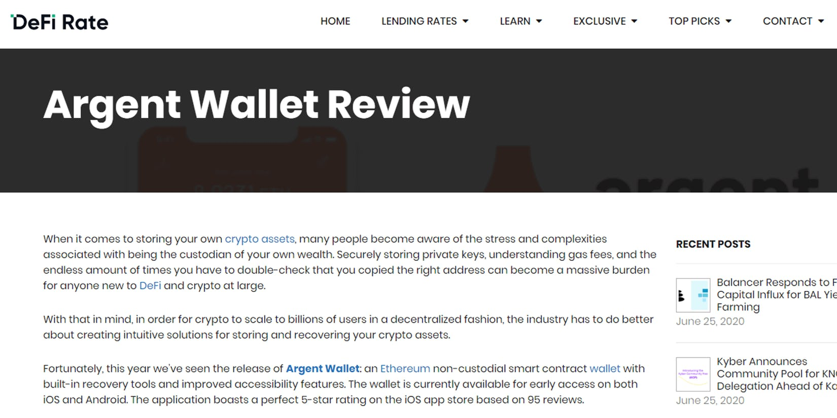 DeFi Rate's review of the Argent wallet