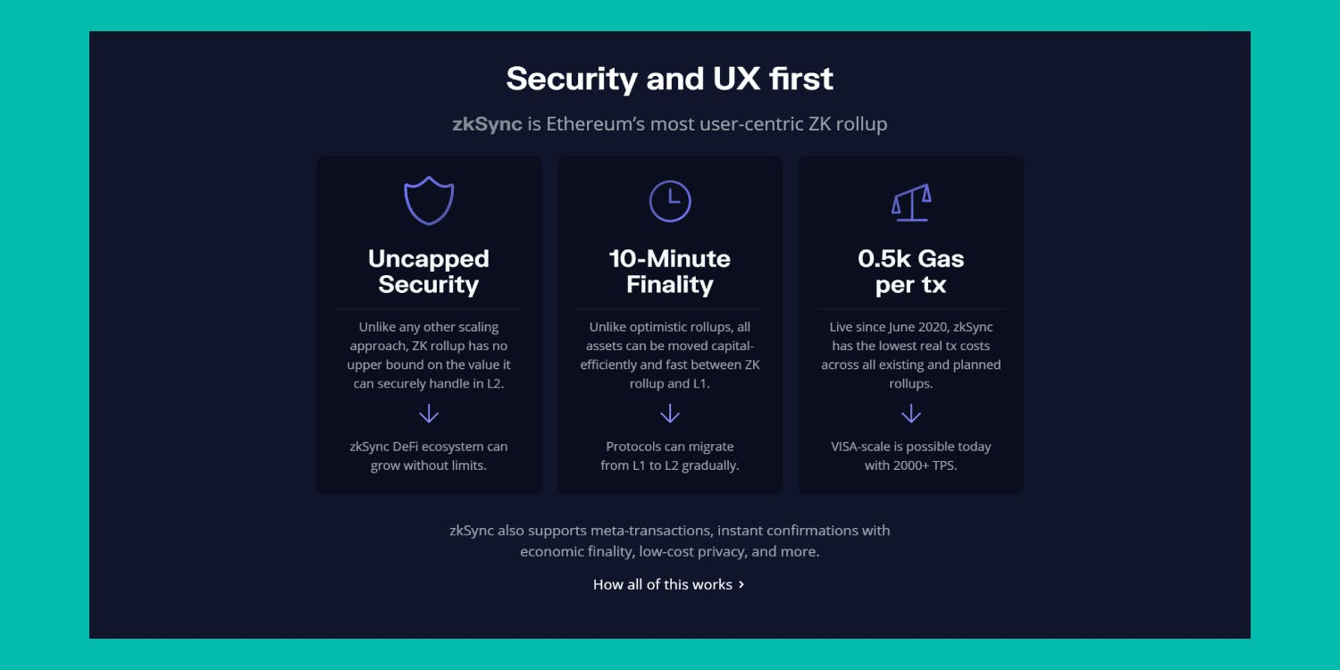 Image shows the benefits of using zkSync