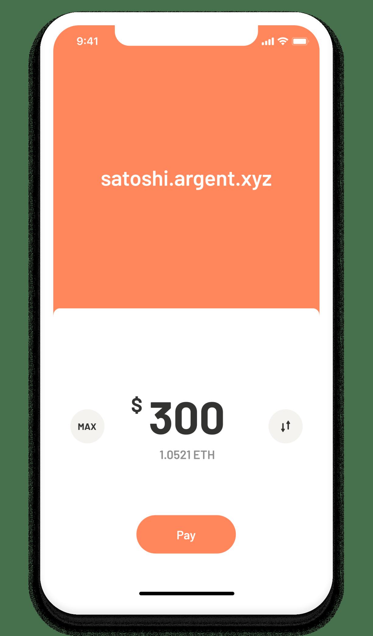 Argent Ethereum DeFi wallet –pay, transfer, send screen
