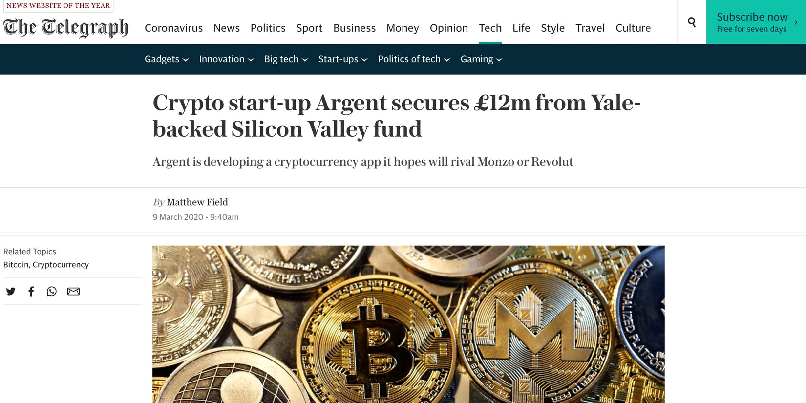 The Telegraph writes about Argent's easy to use and secure crypto wallet