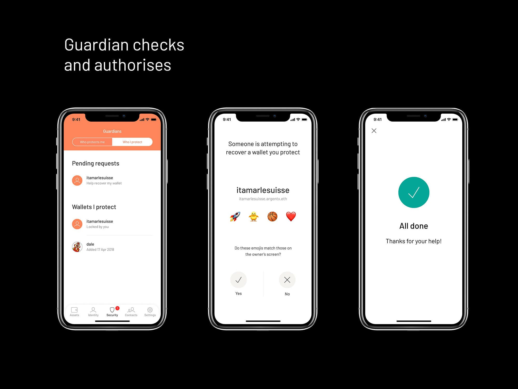 Authorising Argent Ethereum wallet recovery using Guardians