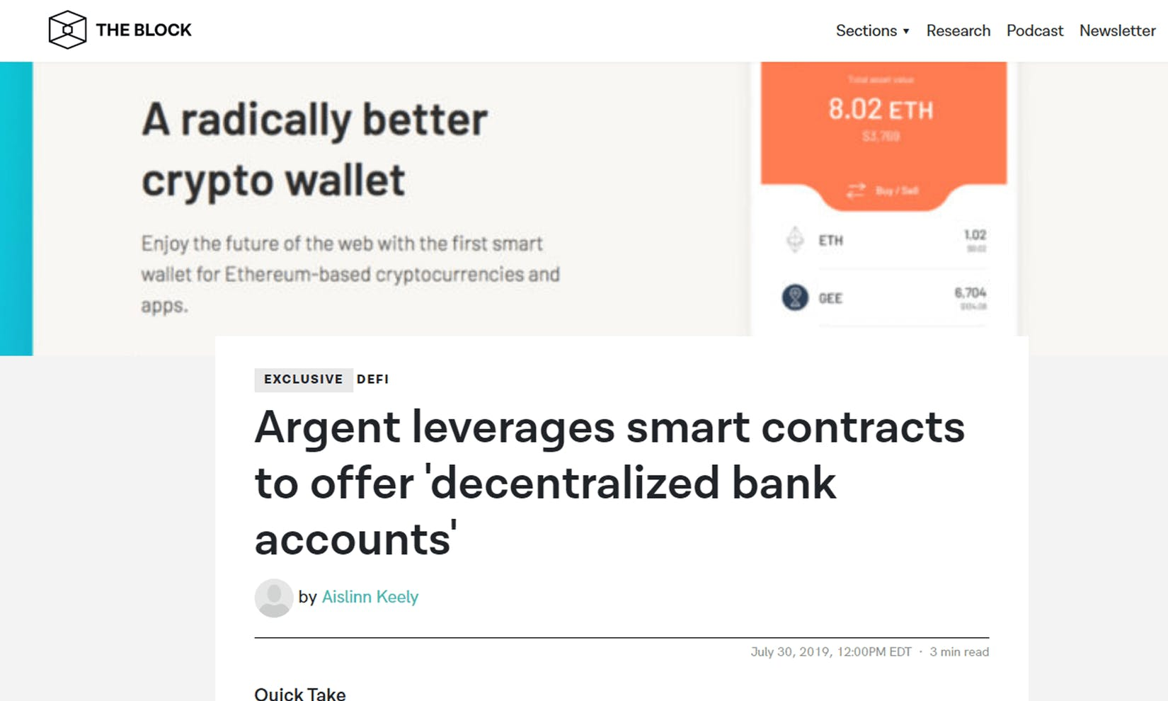 TheBlock explains how Argent uses smart contracts