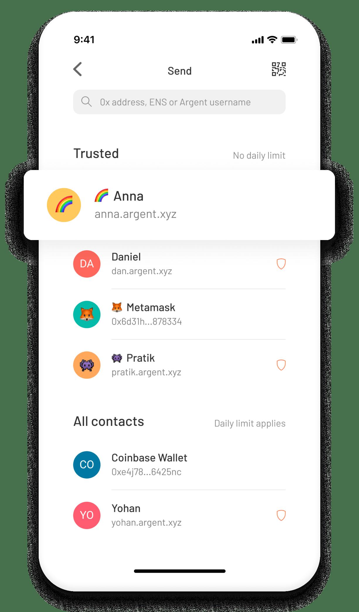 Argent contact list