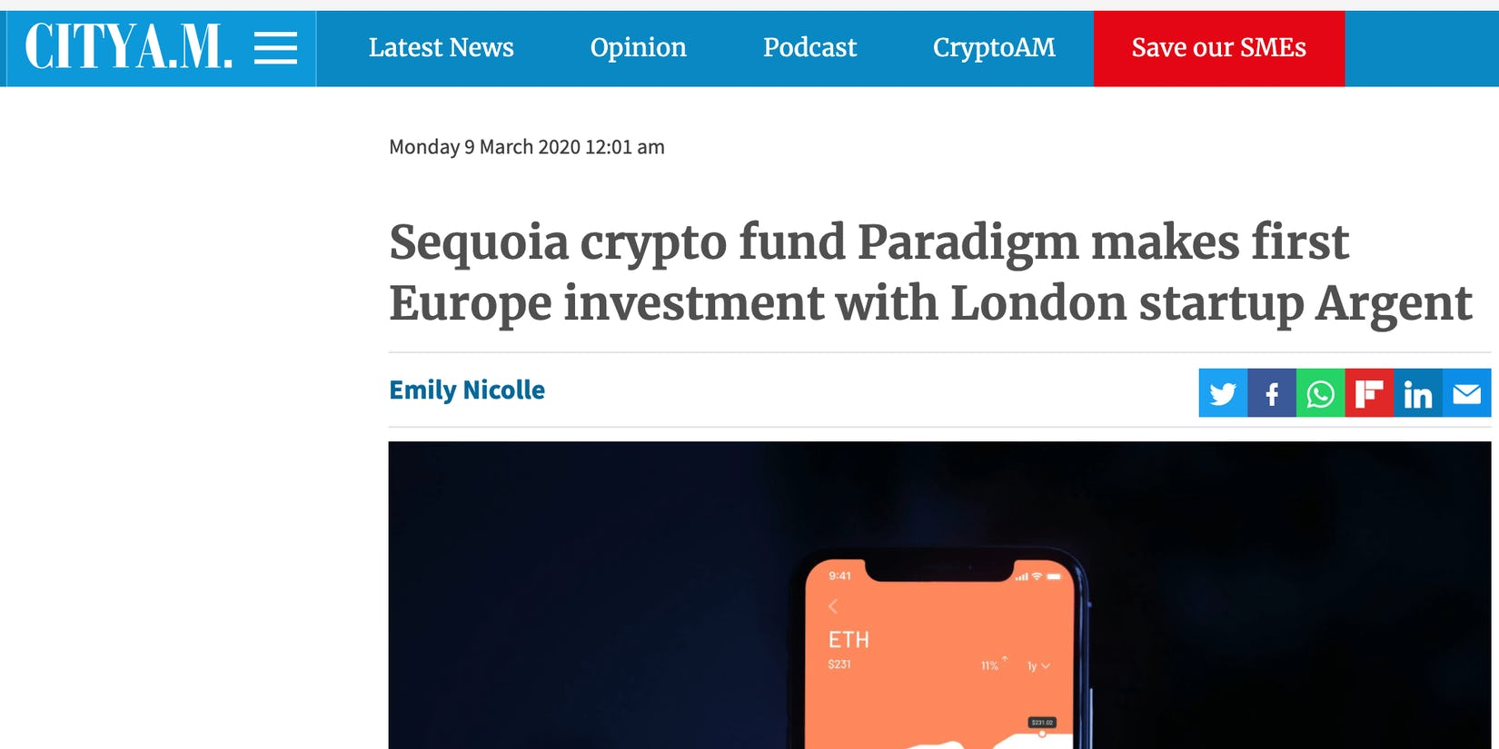 Sequoia Capital fund Paradigm invest in Argent's Series A