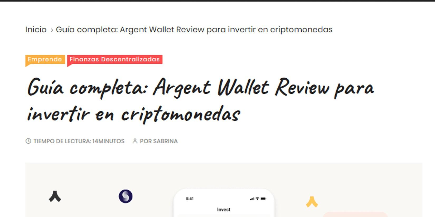 Guía completa - Argent Wallet Review para invertir en criptomonedas