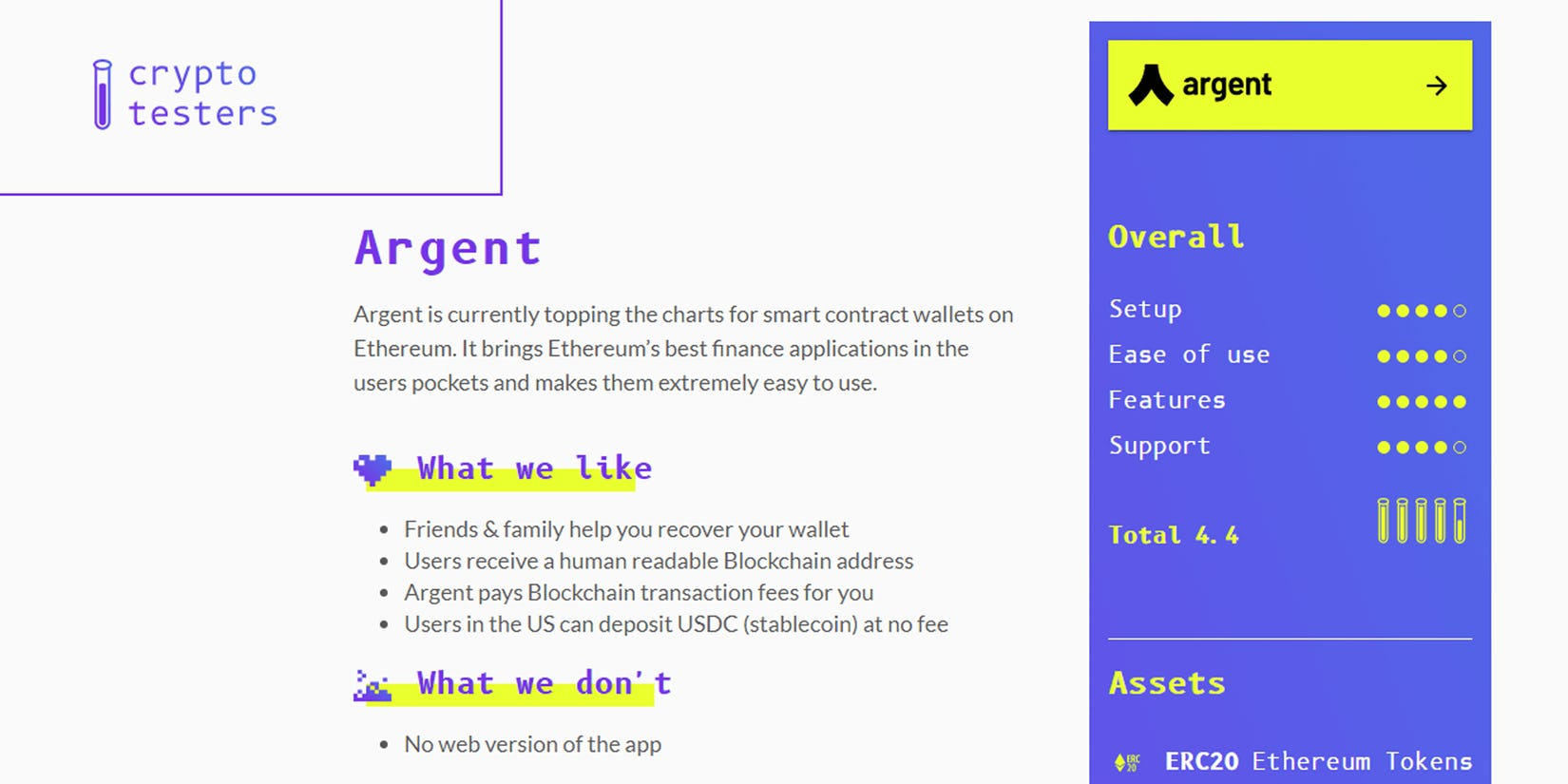 Cryptotesters review of the best custodial wallets - Argent in 1st place