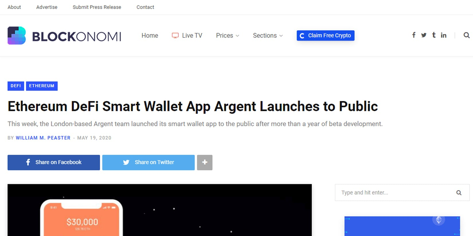 Blockonomi: Ethereum DeFi Smart Wallet App Argent Launches to Public