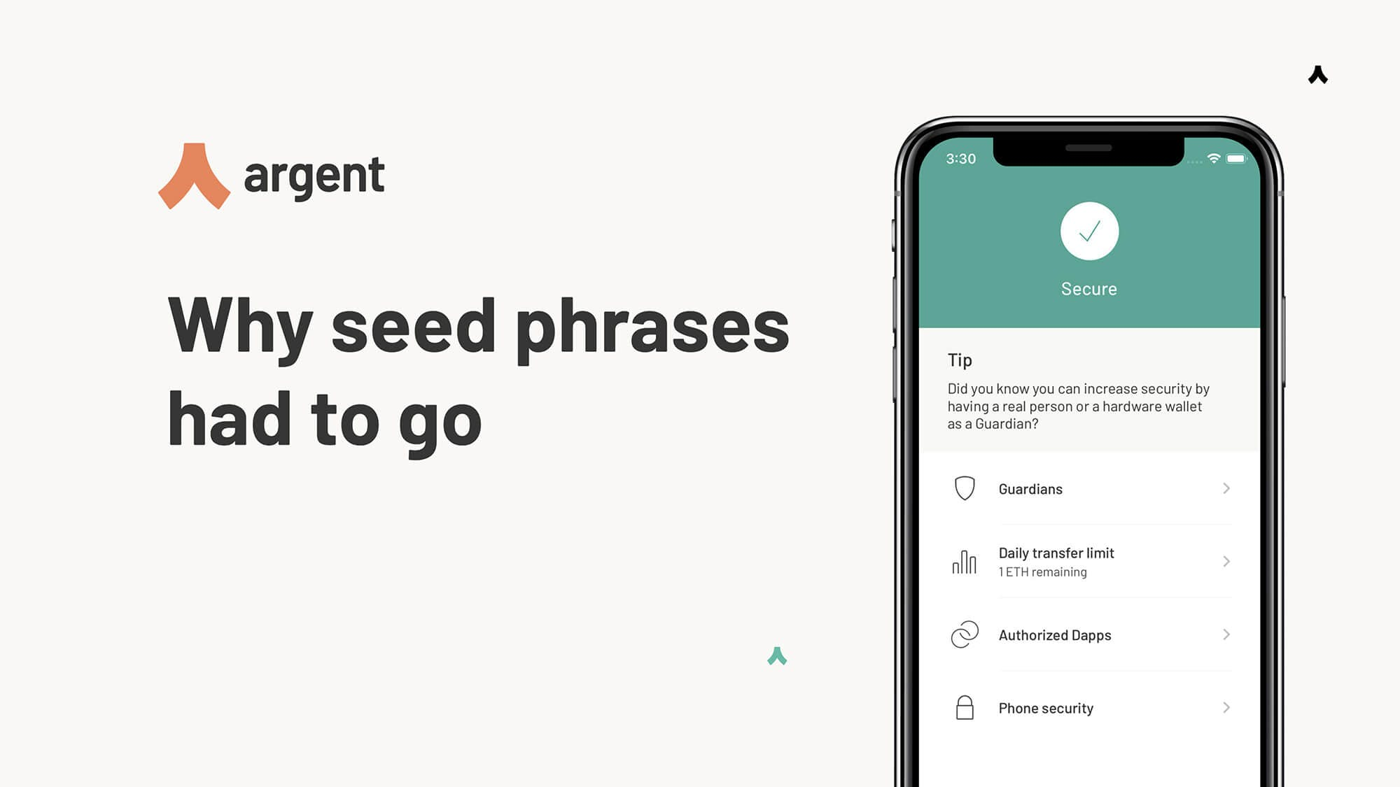 Argent Ethereum wallet is decentralised, yet doesn't use seed phrases.