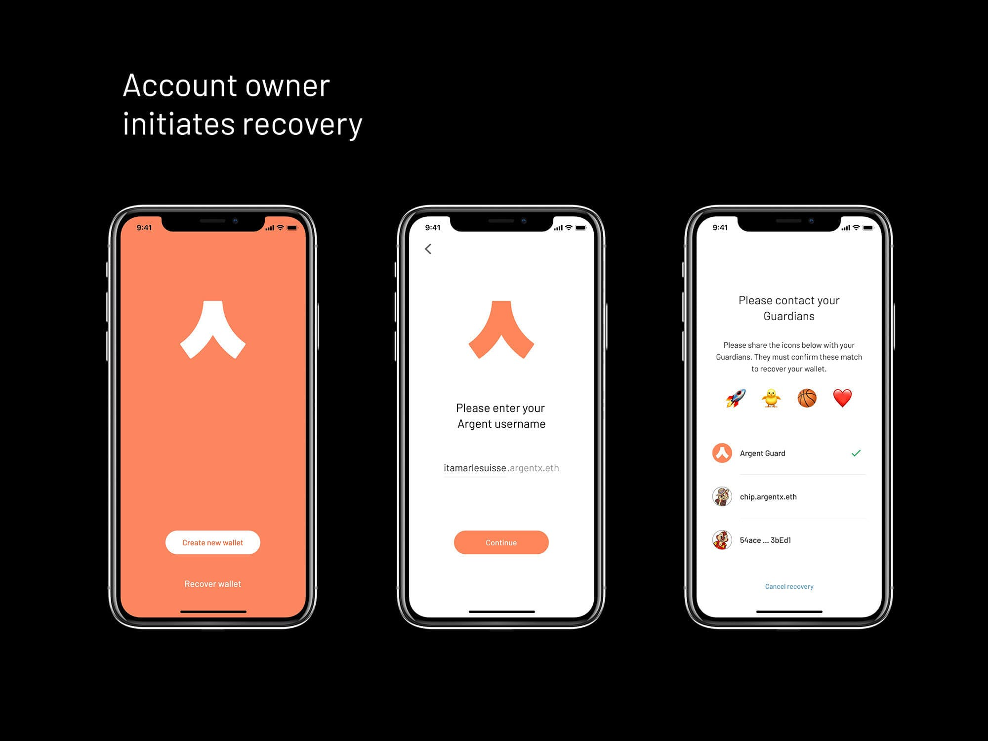 Starting Argent Ethereum wallet recovery